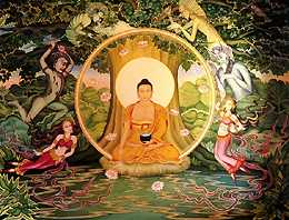 Buddha seated under the Bodhi Tree