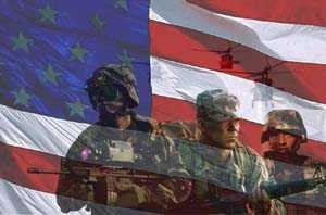 US Flag with Soldiers